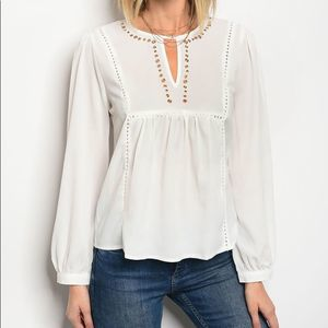 Tops - Studded Long Sleeve White Top